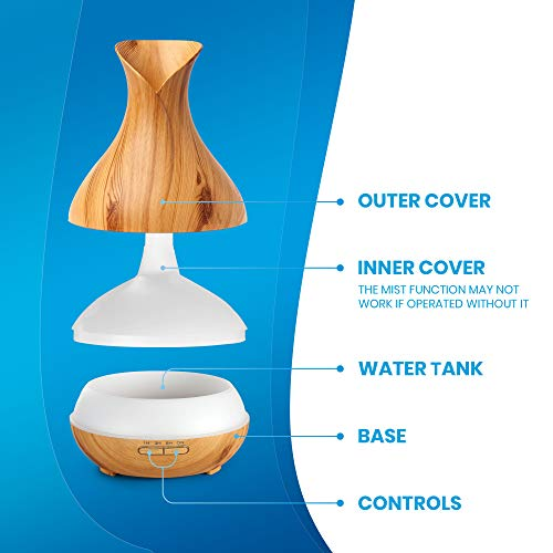 Everlasting Comfort Diffuser for Essential Oils (400ml) - Super High Aroma Output with Cleaning Kit - ETL Certified - Light Wood