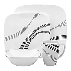 Corelle -  Juego de vajilla de 16 piezas, de vidrio Vitrelle resistente a las roturas y las desportilladuras, modelo Urban Arc, servicio para 4 personas, color negro / gris