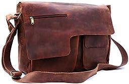 FeatherTouch Leather Distressed Messenger Bag Crossbody Shoulder Bag Travel Satchel Harvard Collection