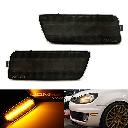 (iJDMTOY Smoked Lens Amber Full LED Bumper Side Marker Light Kit For 2009-2014 Volkswagen MK6 Golf/GTI, Powered by 40-SMD LED, Replace OEM Back Sidemarker Lamps)