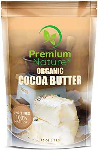 Organic Pure Raw Cocoa Butter - 16 oz Unrefined Natural Vegan Cacao Bar Anti Aging Body Lotion Pregnancy Belly Stretch Mark Cream Eczema Skin Care Soap Making Coco Lip Balm Stick Base…