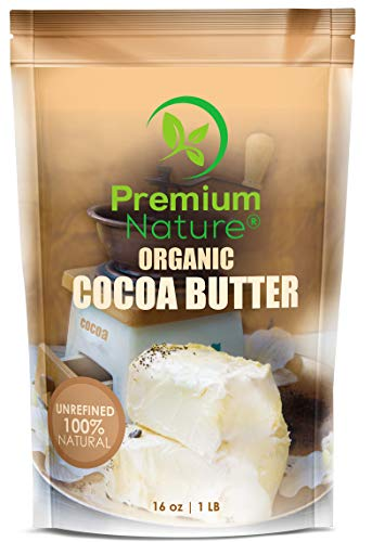 Organic Pure Raw Cocoa Butter - 16 oz Unrefined Natural Vegan Cacao Bar Anti Aging Body Lotion Pregnancy Belly Stretch Mark Cream Eczema Skin Care Soap Making Coco Lip Balm Stick Base ()