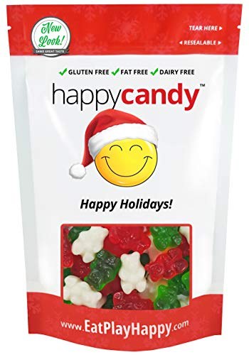 Happy Candy Christmas Gummi Bears - Wild Cherry, Green Apple & Strawberry Banana - Gluten Free, Fat Free, Dairy Free - Resealable Pouch (1 Pound)