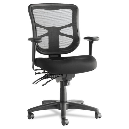 Alera ALEEL42ME10B Elusion Series Mesh Mid-Back Multifunction Chair, Black - Back Mesh Mid