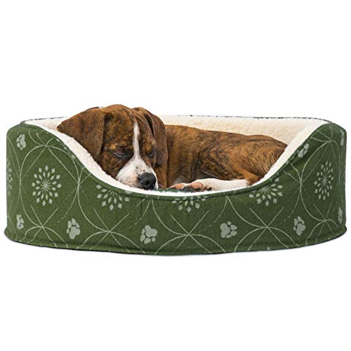 (FurHaven Pet Dog Bed | Print Flannel Oval Pet Bed for Dogs & Cats, Jade Green,)