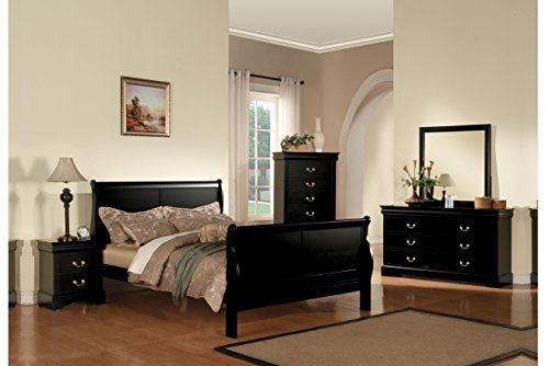 acme 19500Q Louis Philippe III Queen Bed, Black ()