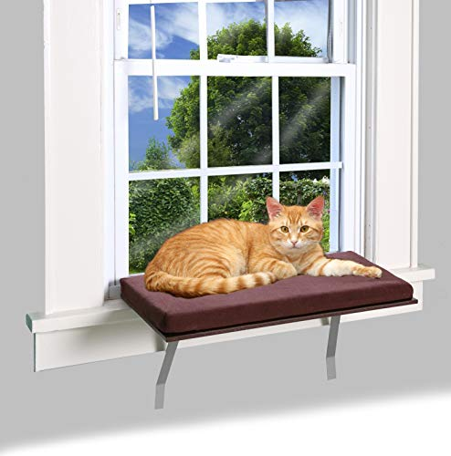 Bundaloo Cat Window Perch | Easy Set-up DIY Kitty Sill | Mounted Shelf Bed for Pets | House Pets Furniture | Sturdy Couch for All Kitten Sizes | Washable Foam Seat (Modern Brown, Medium 23-3/4 x 12')