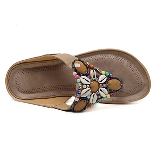 Flip Casual Women Flops Women Sandals Flat Bohemian Black Bead String ZHOUZJ Slippers wq7AUITxU