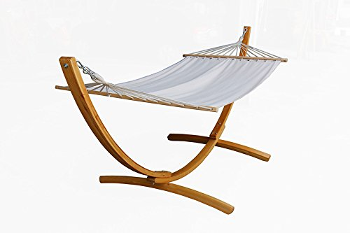 Wooden Arc Hammock Stand with Chains Curved Outdoor Hammock Set single Person 10.5 Feet Cotton Hammock Garden Patio (3.20, white)