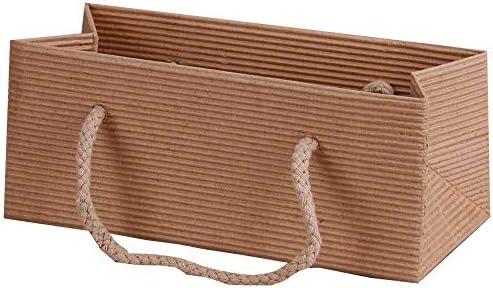 10x Geschenktragetaschen offene Welle natur quer 17 + 7 x 7 cm