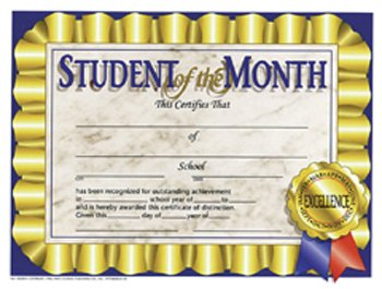 14 Pack HAYES SCHOOL PUBLISHING STUDENT OF THE MONTH 30/PK 8.5 X 11