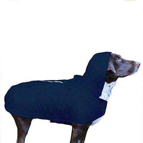 Frenchie Mini Couture Waterproof Dog Raincoat, New Blue, (XXL) Waterproof Storm Dog Jackets