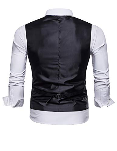 STTLZMC Mens Casual Dress Vests 4 Button Tailored Collar Tweed Suit Waistcoat,Khaki,X-Large by STTLZMC (Image #1)