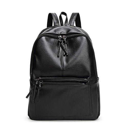 Mochila para la Mujer Casual Mochila escolar de cuero estilo Simple Bolsa Bolso Bolsa Student Book mochilas negro Black