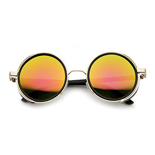 zeroUV - Side Shield Studio Cover Color Flash Mirror Lens Round Sunglasses (Gold Fire)