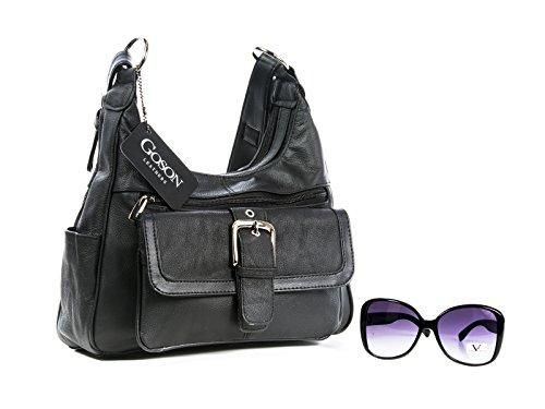 Goson Cowhid Leather Handbag Purse with Cell Phone Holder, Sunglasses Bundle - Holder Sunglasses Phone
