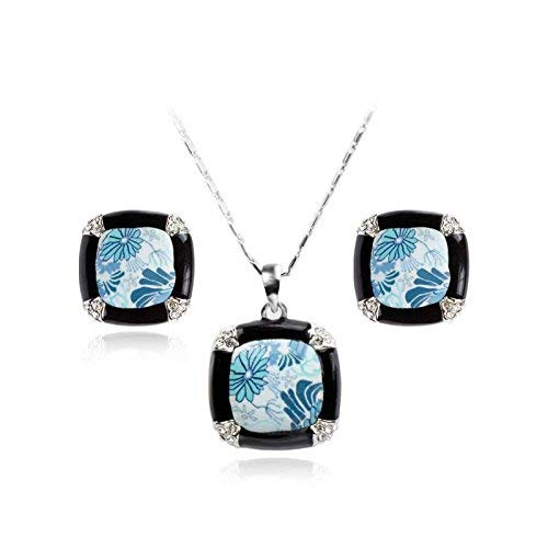 (Victor Home HOX Hypoallergenic Fashion Trend of Creative Blue and White Porcelain Black Diamond Necklace Set Female Sets Jewelry)