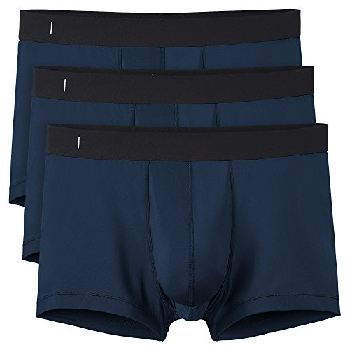 Separatec Men's 3 Pack Quick Dry Underwear Breathable Separate Pouch Trunks(M,Navy Blue) (Rib Cotton Stretch Trunk)