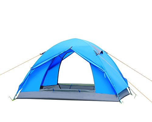 CCTRO 2 Person Camping Tent, Double Layer Waterproof Lightweight 3 Season Windproof Backpacking Tents for Camping Hiking Traveling with Zippered Door and Carrying Bag ()