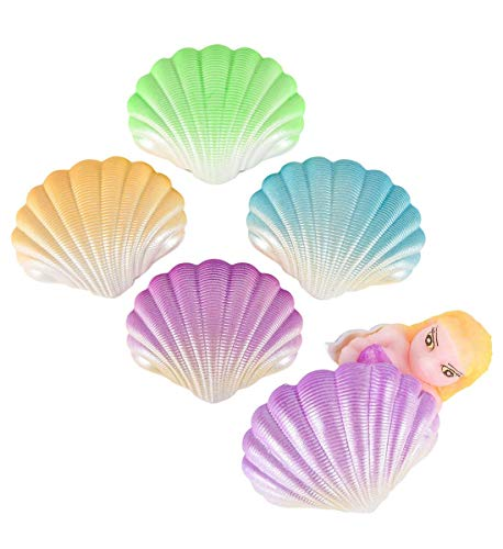 Rhode Island Novelty Growing Hatching Mermaid Surprise Shells - Expands in Water, 48 Hours, 3 inch, Assorted Colors - Party Favors, Goody Bags for Birthdays, Events - Egg Miniatures (12pc Set) -