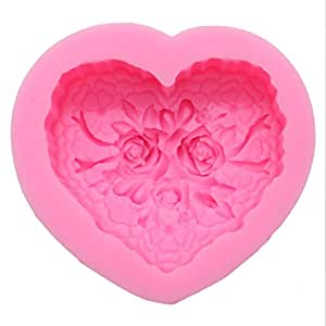 Heart Shape Silicone DIY Soap Making Art Clay Craft Mold ,Pink