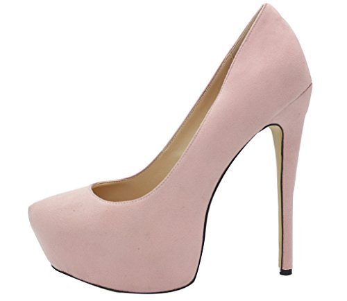 Calaier Women Chaitle Pointed-Toe 15CM Stiletto Slip-On Court Shoes Pink n5vpj09
