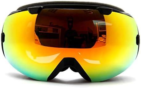 YIYUTING スノーボードゴーグルスキーゴーグル登山スキー初心者のガラスレンズシリコンシュノーケリングに設定されたUV保護めっき防曇マスク (Color : Black)