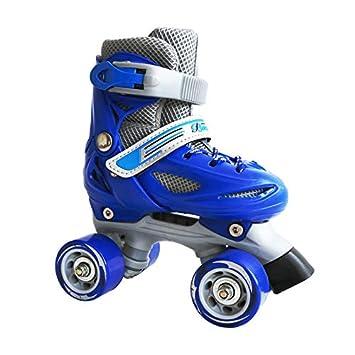 WMYY Patines De Compañía Adecuados para Los Niños Principiantes Doble Fila Rueda De Cuatro Ruedas Single Zapatos Ajustable Patines De Rodillos,Blue,XS: ...