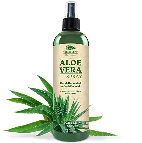 Green Leaf Naturals Organic Aloe Vera Gel Spray for Skin, Hair, Face, After Sun Care and Sunburn Relief - 99.8% Organic - 100% Pure and Natural Skin Care Moisturizer - Unscented, 12 ounces