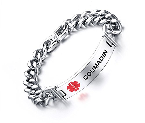 (Mealguet Jewelry COUMADIN-12mm Stainless Steel Medical Alert ID Chain Bracelets for Men, 8.2