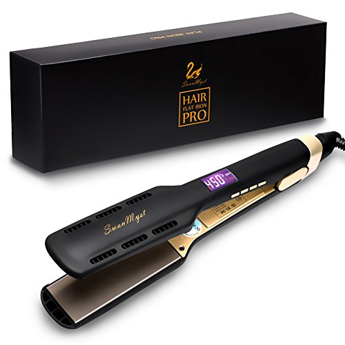 SwanMyst Professional Hair Straightener Flat Iron with Nano-Titanium 1.7 inch Plate, Digital LCD Display, 450℉ Salon High Heat Fast Heat Up, Dual Voltage