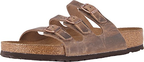 Birkenstock Women's Florida Soft Footbed Sandal Tobacco Oiled Leather Size 40 M EU