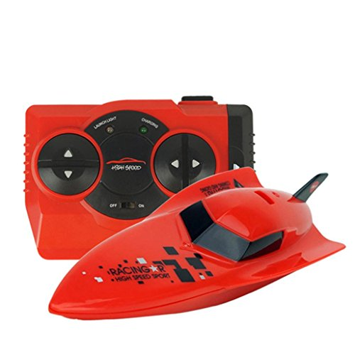 POTO RC Toys 4CH High Powered Speed Boat 2.4G 2.4V RC Boats Plastic Volvo Rowing Model Outdoor Toys (Red) (Rc Boats Gas Fast 100 Mph compare prices)