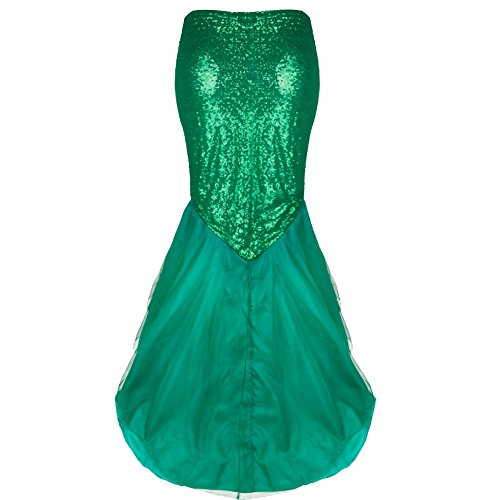 Freebily Mermaid Halloween Costume Fancy Party Cosplay Dress Tail Full Skirt Green X-Large - Halloween Costume Ballroom Dancer