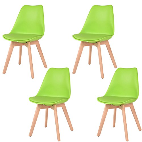Giantex Set Of 4Pcs Modern Style Dining Side Chair Wood Legs (Green)