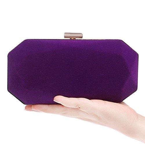 Mesdames Fait À Soirée Main En Robe Velours De Sac De Embrayage Mariage Purple Main r8RgqPrnx
