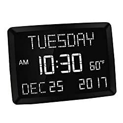 "Mesqool 11.5"" Digital LED Calendar Day Clock for Bedroom Wall Desk Kitchen - Temperature,Date and Time, Dual USB Charging, 3 Alarms, 5 Dim, Battery Backup - for Vision Impaired, Elderly, Memory Loss"