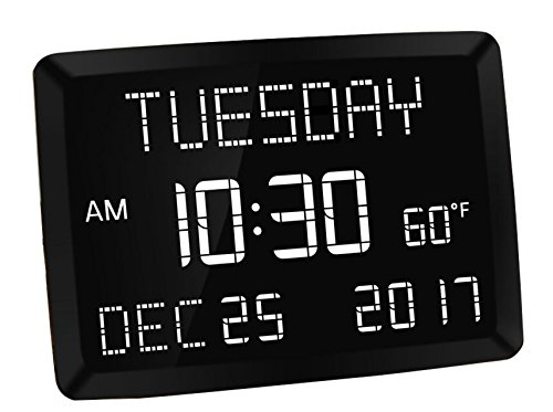 "Mesqool 11.5"" Digital LED Calendar Day Clock Bedroom Wall Desk Kitchen - Temperature,Date Time, Dual USB Charging, 3 Alarms, 5 Dim, Battery Backup Vision Impaired, Elderly, Memory Loss by Mesqool"