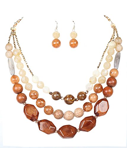 "Chunky Wood Bead (Chunky Brown Cream Gray & White Layered Look 3 Strand Wood & Acrylic Bead Necklace 20"" w/ Dangle Earrings)"