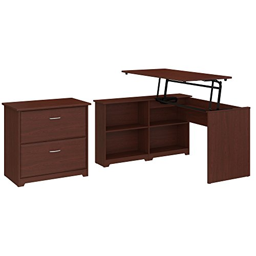 Bush Furniture Cabot 52W 3 Position Sit to Stand Corner Bookshelf Desk with Lateral File Cabinet in Harvest Cherry