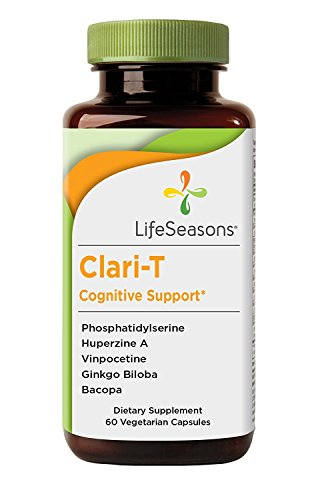 Clari-T - Natural Brain Booster Supplement - Aids in Memory and Focus with Clarity Enhancement- Containing Ginkgo Biloba and Bacopa - LifeSeasons (60 Capsules) - Focus Aid