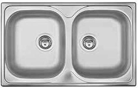 Lavello Cucina 2 Vasche L 79 cm Acciaio finitura Prelucido OH792IPC ...
