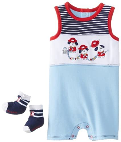 Cachorros Vitaminas BABY BABY-Boys recién nacido Fuego 2 Paquete sunsuit Set, azules,