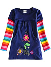 Toddler Flower Girl Dress Cotton Long Sleeve Navy Baby Girls Wedding Party Birthday Dresses for 2-8 Years