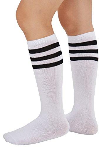 (Eleray Unisex Triple Stripes Soft Cotton Knee High Tube Socks (White/Black))