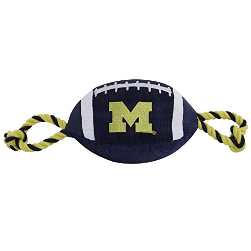 Pets First NCAA Michigan Wolverines Football Dog Toy, Tough Quality Nylon Materials, Strong Pull Ropes, Inner Squeaker, Collegiate Team Color ()