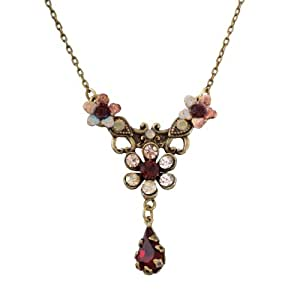 Michal Negrin Necklace with Hand Painted Flowers, Vintage Elements, Tear Drop, Burgundy and Pink Swarovski Crystals