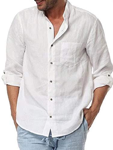 (Enjoybuy Mens Linen Cotton Mandarin Collar Casual Button Down Shirt Long Sleeve Regular Fit Shirts )