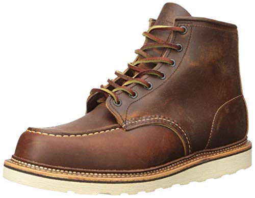 Red Wing Heritage Men's Classic 1907 6-Inch Moc Toe Boot,Copper Rough & Tough,7.5 D US (Stage Wings)