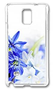 Adorable Blue White Flowers Hard Case Protective Shell Cell Phone Samsung Galaxy Note3 - PC Transparent